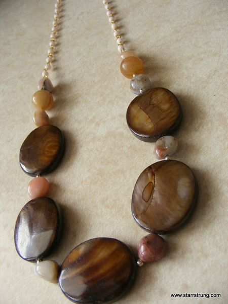 Tigers Eye and Pink necklace